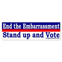 End the Embarrassment (bumper sticker)