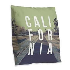 California Train Tracks Burlap Throw Pillow