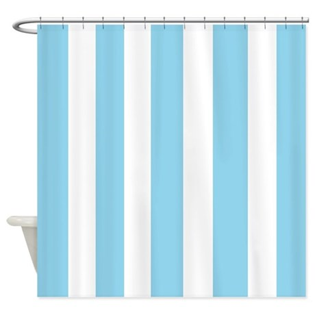Light Blue And White Stripes Shower Curtain By Laughoutlouddesigns1