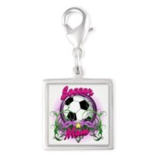 Soccer Mom Silver Square Charm