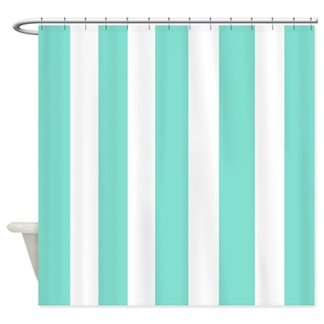 Light Blue Green Stripes Shower Curtain By Laughoutlouddesigns1