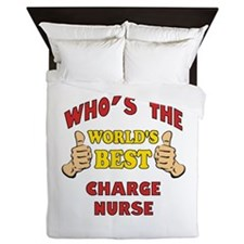World's Best Charge Nurse (Thumbs Up) Queen Duvet