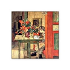 "Carl Larsson painting: Lisb Square Sticker 3"" x 3"""