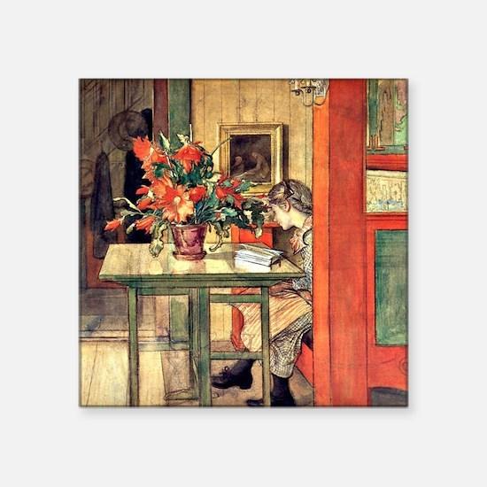 "Carl Larsson painting: Lisb Square Sticker 3"" x 3"""