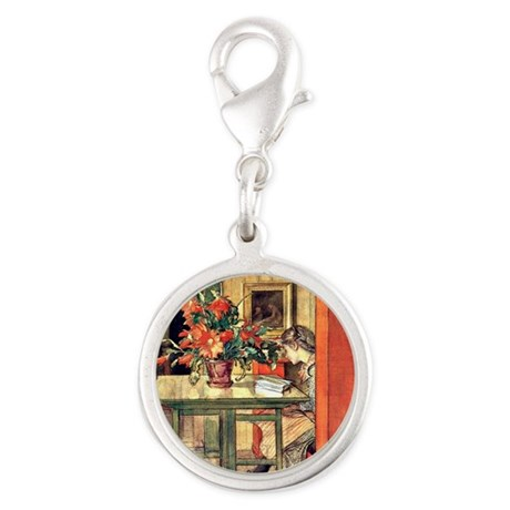 Carl Larsson painting: Lisbeth Silver Round Charm