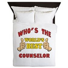 World's Best Counselor (Thumbs Up) Queen Duvet