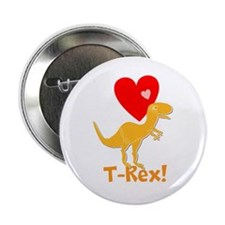"Cute Orange T-Rex Love Hearts with Name 2.25"" Butt"
