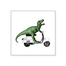 "T-rex Vintage Scooter Square Sticker 3"" x 3"""