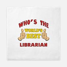 World's Best Librarian (Thumbs Up) Queen Duvet