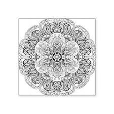 "Mehndi Floral Design Square Sticker 3"" x 3"""