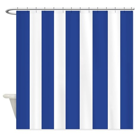 Natural Linen Shower Curtain Navy Blue and White Stripes
