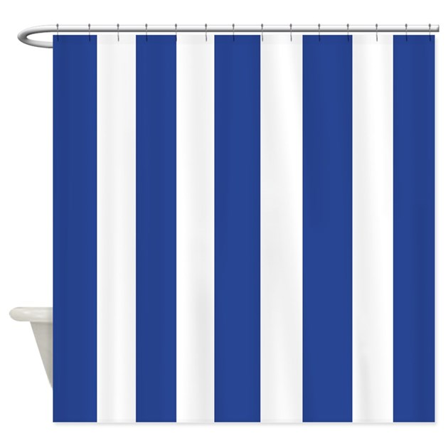 navy and white stripes shower curtain by laughoutlouddesigns1