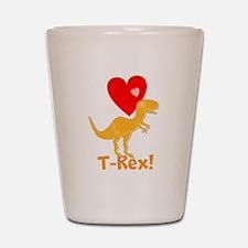 Cute Orange T-Rex Love Hearts with Name Shot Glass