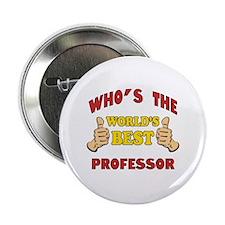 """World's Best Professor (Thumbs Up) 2.25"""" Button"""