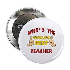 """World's Best Teacher (Thumbs Up) 2.25"""" Button"""