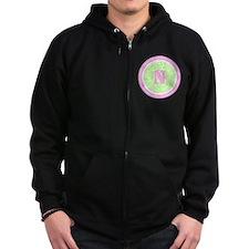 Lime Paisley Monogram-N Zipped Hoodie