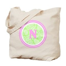 Lime Paisley Monogram-N Tote Bag