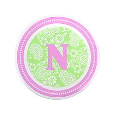"Lime Paisley Monogram-N 3.5"" Button"