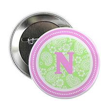 "Lime Paisley Monogram-N 2.25"" Button"