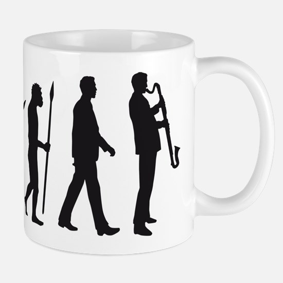 evolution of man bass clarinet player Mugs