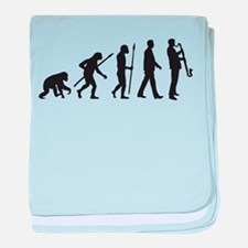 evolution of man bass clarinet player baby blanket