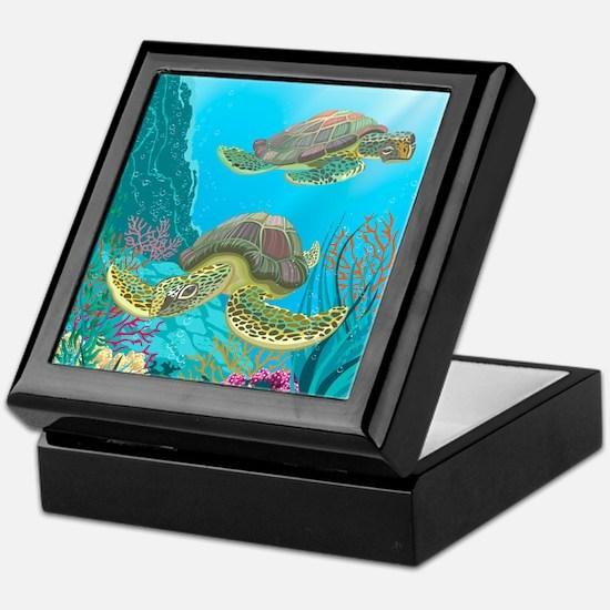 Cute Sea Turtles Keepsake Box