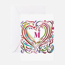 Monogrammed Art Heart Greeting Cards