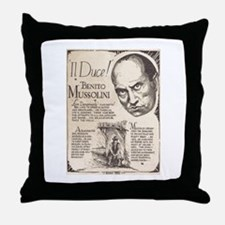 Vintage Benito Mussolini Poster Throw Pillow