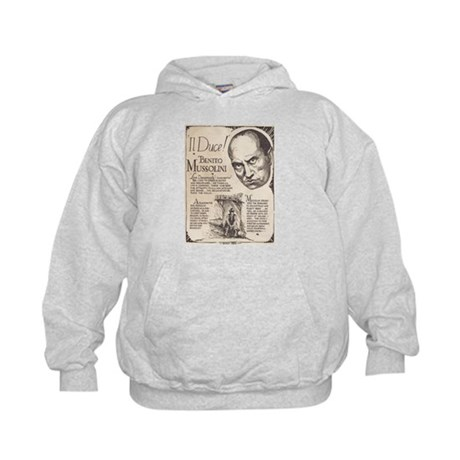 Vintage Benito Mussolini Poster Kids Hoodie