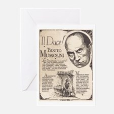 Vintage Benito Mussolini Poster Greeting Cards (Pa
