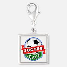 Soccer Coach Silver Square Charm