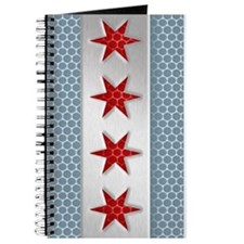 Chicago Flag Brushed Metal Journal