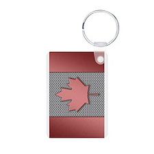 Canadian Flag Brushed Metal Keychains