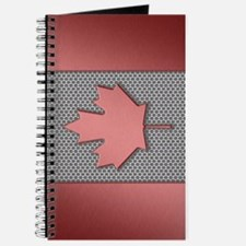 Canadian Flag Brushed Metal Journal