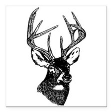 White Tailed Deer 10 Point Buck Square Car Magnet