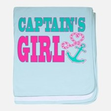 Captains Girl Boat Anchor and Heart baby blanket