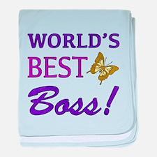 World's Best Boss (Butterfly) baby blanket