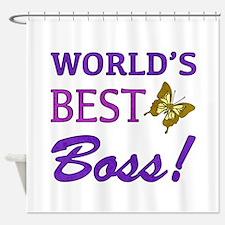 World's Best Boss (Butterfly) Shower Curtain