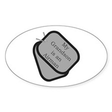 My Grandson is an Airman dog tag Oval Decal