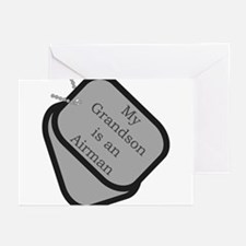 My Grandson is an Airman dog tag Greeting Cards (