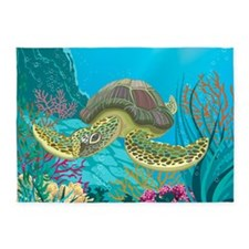 Cute Sea Turtle 5'x7'Area Rug