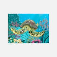 Cute Sea Turtle 5'x7'Area Rug