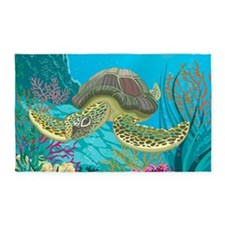 Cute Sea Turtle 3'x5' Area Rug