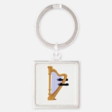 harp and hands graphic Keychains