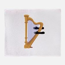 harp and hands graphic Throw Blanket