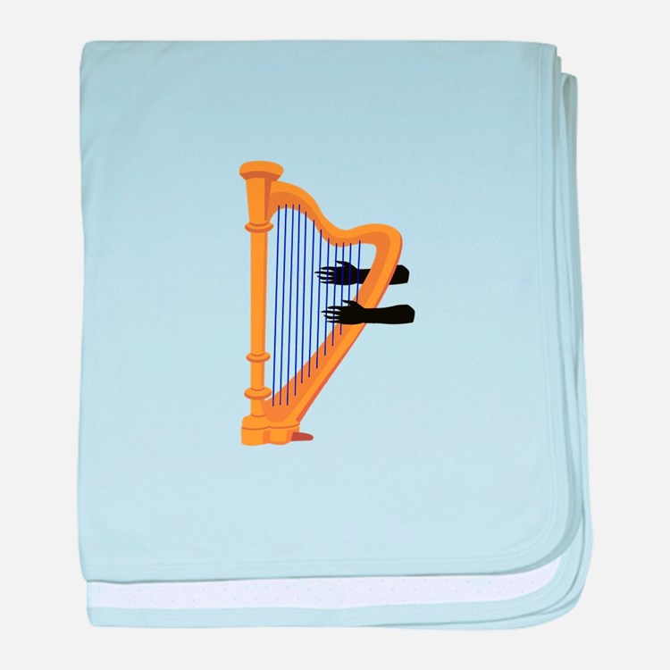 harp and hands graphic baby blanket