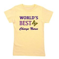 World's Best Charge Nurse (Butterfly) Girl's Tee