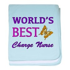World's Best Charge Nurse (Butterfly) baby blanket