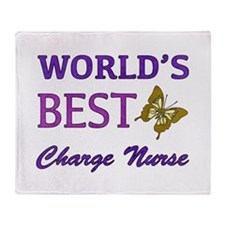 World's Best Charge Nurse (Butterfly) Throw Blanke