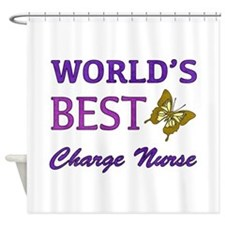 World's Best Charge Nurse (Butterfly) Shower Curta